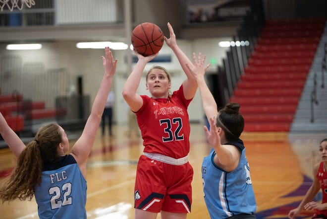 Colorado State University Pueblo senior women's basketball player Jazzy Hughes shoots for two points against Fort Lewis last Friday, Jan. 22 at Massari Arena. [Chieftain photo/Zachary Allen]