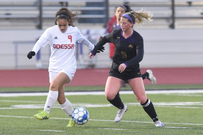 Wylie's Shaelyn Ward (11) beats an Odessa High defender to the ball during Friday's game at Hugh Sandifer Stadium. Shaelyn scored the Lady Bulldogs lone goal in the 3-1 loss.