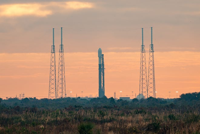 A SpaceX Falcon 9 rocket stands at Cape Canaveral Space Force Station's Launch Complex 40 with the Transporter-1 mission on Saturday, Jan. 23, 2021.
