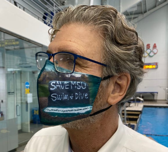 UM swimming, diving goes to bat for rival, wears 'SAVE MSU' masks