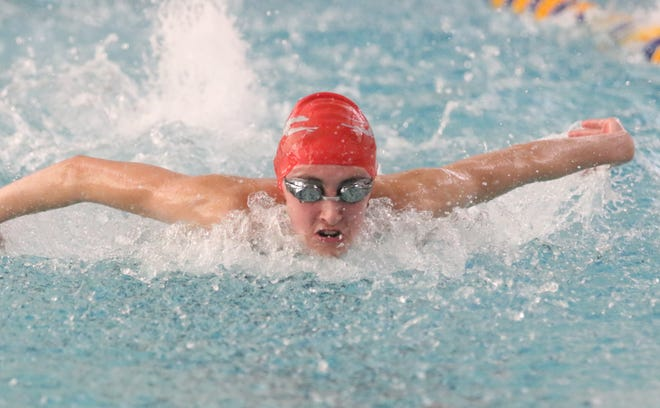 Shelby's Reyna Hoffman broke her own 200 IM MOAC record with a 2:18.14 while also winning the backstroke leading the Whippets to a second-place finish.