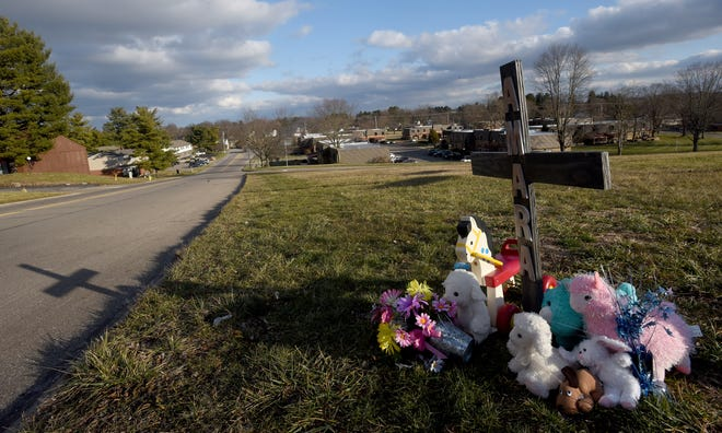 A memorial set up for 1-year-old Amara White who died on Dec. 23in a hit-and-run crash on Londondale Parkway in Newark. White was being pushed in a stroller by her grandmother on a walk. A study recommended adding sidewalks in the Newark-Heath area to increase pedestrian safety, even before two fatal vehicle-pedestrian collisions in the last month.