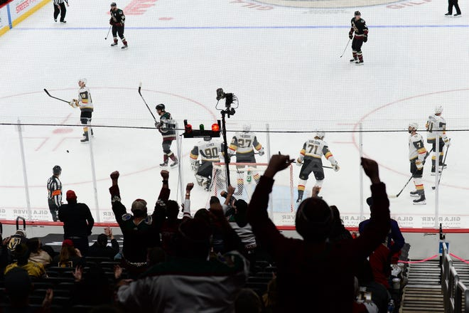 Jan 22, 2021; Glendale, Arizona, USA; Arizona Coyotes fans celebrate a goal by center Nick Schmaltz (not pictured) during the second period against the Vegas Golden Knights at Gila River Arena. Mandatory Credit: Joe Camporeale-USA TODAY Sports