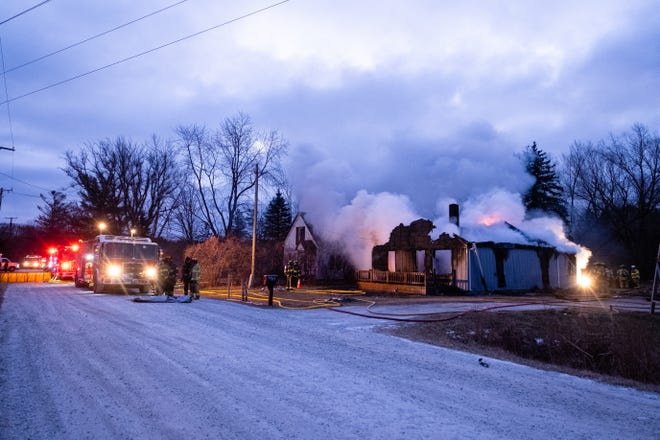 Crews responded to a structure fire in the 6100 block of Dove Road in Smiths Creek Saturday morning, Jan. 23, 2021.