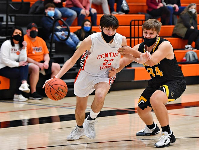 Central York's Greg Guidinger, seen here in a file photo, scored 14 points on Wednesday night in the Pannthers' loss to unbeaten Reading.
