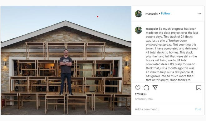 Max Poindexter has won a national contest after making 99 desks to donate to students to use at home.