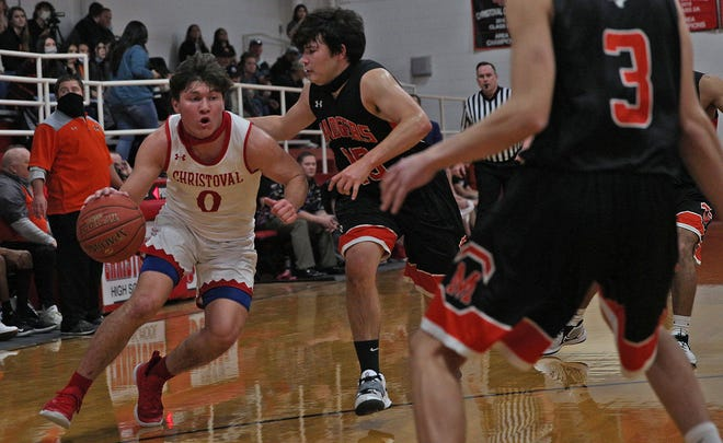 Christoval's Josh Fava (0), at far left, moves the ball up the court during a game against McCamey on Friday, Jan. 22, 2021.