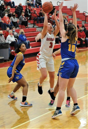 Sheridan's Bailey Beckstedt puts up a shot over Gahanna Lincoln's Bella Ward in Saturday's game. The Generals won 50-48.