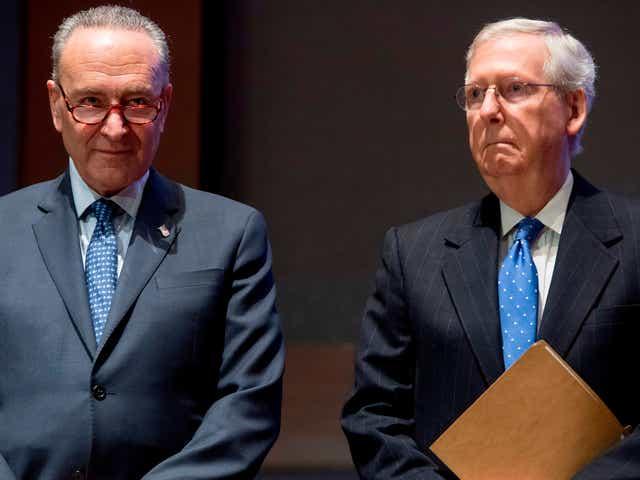 From left, then-Senate Minority Leader Chuck Schumer and then-Senate Majority Leader Mitch McConnell in 2017.
