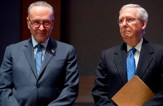 Then-Senate Majority Leader Mitch McConnell and then-Senate Minority Leader Chuck Schumer in Washington, D.C., on Nov. 9, 2017.