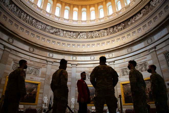 National Guard Citizen-soldiers receive a U.S. Capitol tour on Saturday in Washington, DC. Due to COVID-19, Capitol tours had been restricted since March 13, 2020, but have exclusively been reopened for National Guard members.