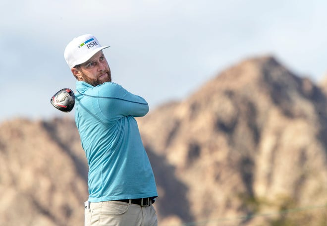 Chris Kirk tees off on the 1st hole of the PGA West Pete Dye Stadium Course during the third round of The American Express in La Quinta, Calif., on January 23, 2021.