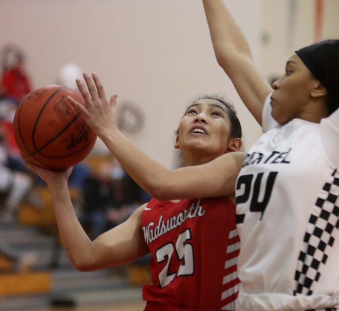 Ky'Sonna Won, left of Wadsworth attempts to go up for two as a foul is called on Sahniya Manson of Buchtel during the first half of their game at Buchtel High School Saturday, Jan. 23, 2021 in
