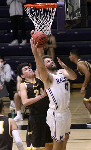 Logan Hill had 10 points and 11 rebounds for Mount Union in the Purple Raiders' 89-72 win over Otterbein on Friday night.