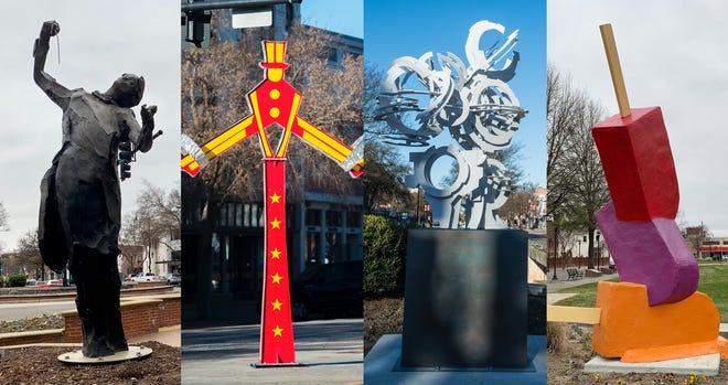 """Augusta's Sculpture Trail includes, from left to right, """"Maestro,"""" """"Unstoppable,"""" """"Orion"""" and """"Popsicles."""""""
