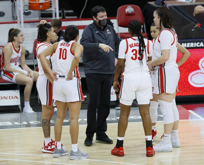 Ohio State coach Kevin McGuff talks to his team during a third-quarter timeout in Thursday's victory over unbeaten Michigan.
