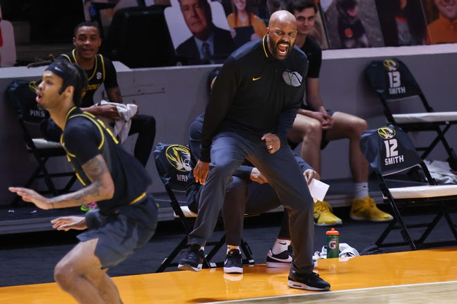 Missouri head coach Cuonzo Martin reacts during a game against Tennessee on Saturday night at Thompson-Boling Arena in Knoxville, Tenn.