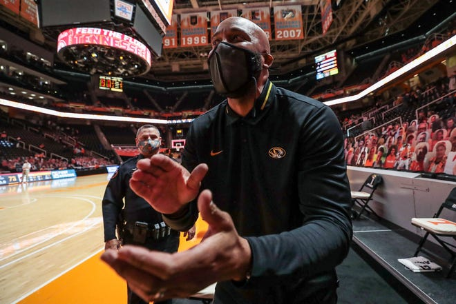 Missouri head coach Cuonzo Martin reacts after defeating Tennessee on Jan. 23 at Thompson-Boling Arena in Knoxville, Tenn.