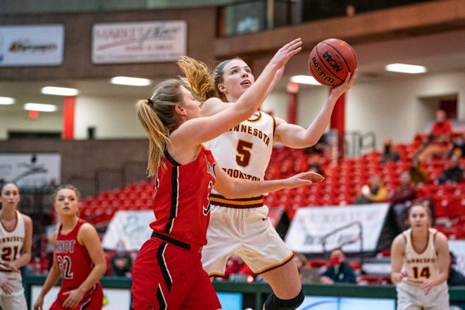 Kylie Post goes up for a layup during Minnesota Crookston's 59-47 loss at Minot State Saturday.