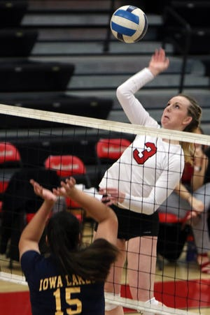 Southeastern Community College's Corinne Booton (3) puts the ball over the net during their game against Iowa Lakes Community College, Sunday Jan. 24, 2021 at Loren Walker Arena.