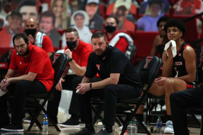Texas Tech coach Chris Beard on the bench during a Big 12 Conference game Jan. 16 against then-No. 2 Baylor at United Supermarkets Arena. The Red Raiders lost 68-60. [Michael C. Johnson/USA TODAY Sports]