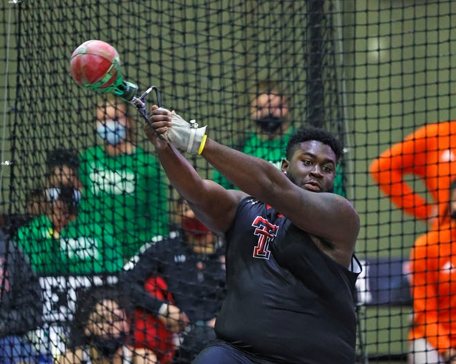 Texas Tech's Gabriel Oladipo finished second in the weight throw and third in the shot put at last year's Big 12 indoor track and field championships in Ames, Iowa. The Red Raiders and Lady Raiders host this year's Big 12 indoor Friday and Saturday.