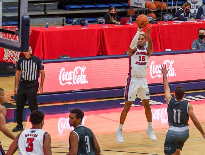 Jailyn Ingram, shown shooting against Florida National in December, suffered an apparent hamstring injury early in Saturday's game.