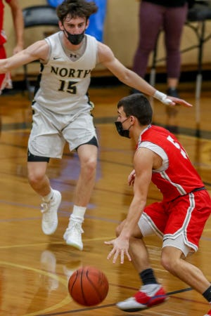 Owen Moynihan and the North Kingstown basketball team (shown in Saturday's nonleague game against Cranston West) faced a big early-season test on Monday against Hendricken. While the Skippers passed, it was the Hawks who walked away with the victory.