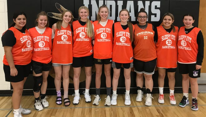 Sleepy Eye Indians Girls Basketball team, from left: Alexis Garza, Miah Brown, Kaydince Thoms, Brea Mertz, Kadence Hesse, Brooklyn Moldan, Stephanie Fernandez, Erika Lozano and Alyssa Romberg.