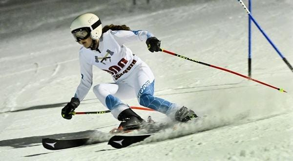 Algonquin's Mina Utzschneider competes during a race last season for the Tomahawks.