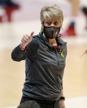 Alabama Head Coach Kristy Curry  gives directions as her team plays Auburn Sunday, Jan. 24, 2021, in Coleman Coliseum. [Staff Photo/Gary Cosby Jr.]
