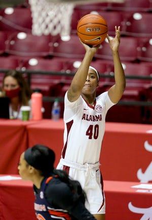 Alabama forward Jasmine Walker (40) shoots a three against Auburn Sunday, Jan. 24, 2021, in Coleman Coliseum. [Staff Photo/Gary Cosby Jr.]