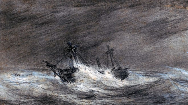 Three vessels from Salem — Ulysses, Brutus and Volusia — stranded on the outer beach of Truro during a storm on Feb. 22, 1802.