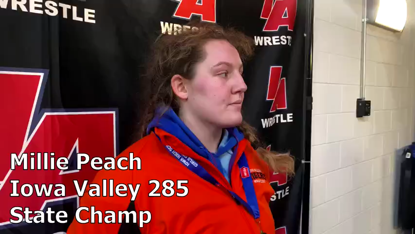 Iowa Valley's Millie Peach is now a three-time girls' state wrestling champion