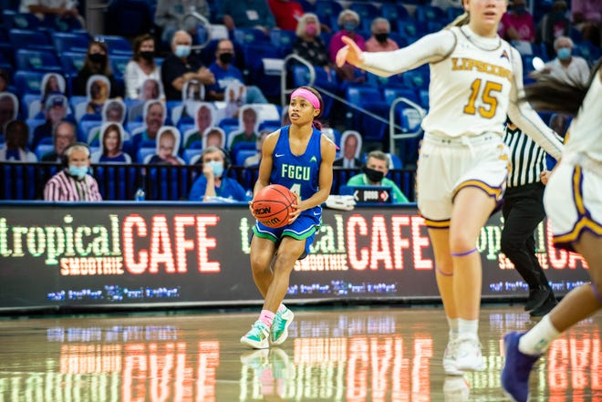 FGCU's TK Morehouse gets ready to take a shot in a game against Lipscomb on Jan. 24, 2021