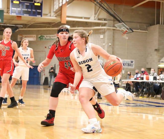 Great Falls High's Ryen Palmer dribbles around Bozeman's Felicity Schott during their girls' basketball game Saturday at Swathout Fieldhouse.