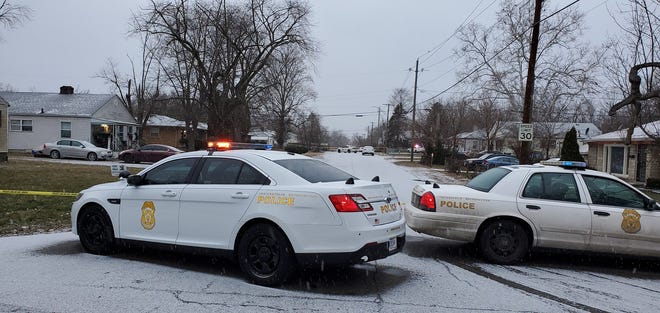 Indianapolis Police at the scene of a shooting that left multiple people dead on Sunday, Jan. 24, 2021.