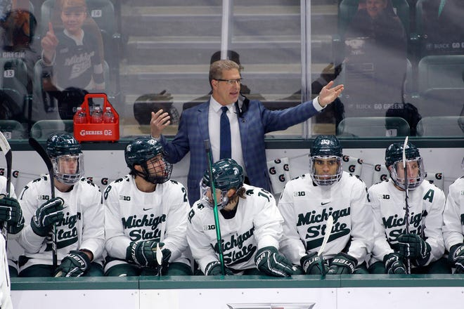 Michigan State coach Danton Cole gestures on the bench against Ohio State, Saturday, Jan. 23, 2021, in East Lansing, Mich.