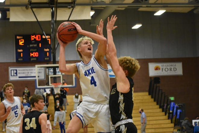 Isaac Finlinson takes the ball to the hoop as Dixie High blows out Desert Hills 70-45 at The Hangar on Friday, January 22, 2021. The Flyers' star committed to play at Dixie State after graduating this year and taking a LDS mission following his graduation.