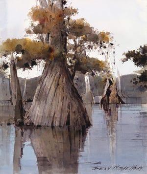 Dean Mitchell, Southern Cypress, watercolor; at Gadsden Arts exhibit.