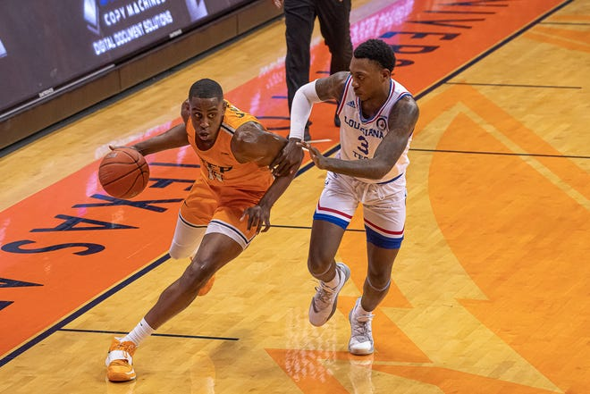 UTEP's Bryson Williams drives past Louisiana Tech's Amorie Archilbald. UTEP was defeated by Louisiana Tech University 55-73 in game 2 of their matchup at the Don Haskins Center on Jan. 23, 2021.
