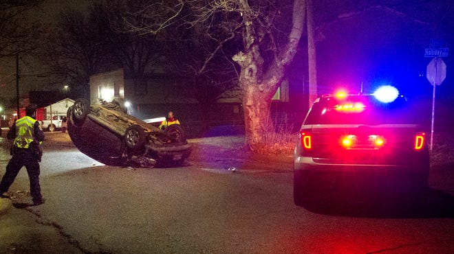 Wichita Falls Police worked the scene of a rollover accident Sunday morning on Holliday Road.
