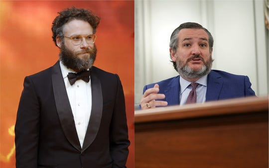 Actor Seth Rogen, left, didn't mince words in a heated Twitter exchange with Sen. Ted Cruz.