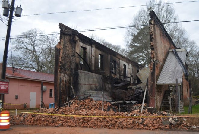 A fire that destroyed this 100-year-old building in Maxeys has been ruled accidental. [Georgia Insurance and Safety Fire Commissioner photo]