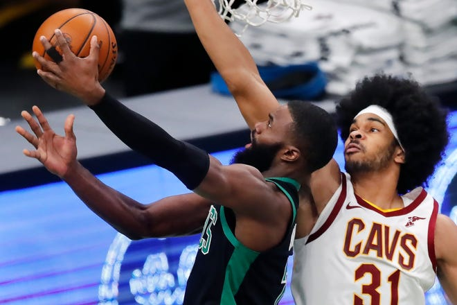 "The Celtics' Jaylen Brown goes up for a shot against Cavaliers center Jarrett Allen during last Sunday's game at TD Garden. Brown has had his ""A"" game for Boston all season."