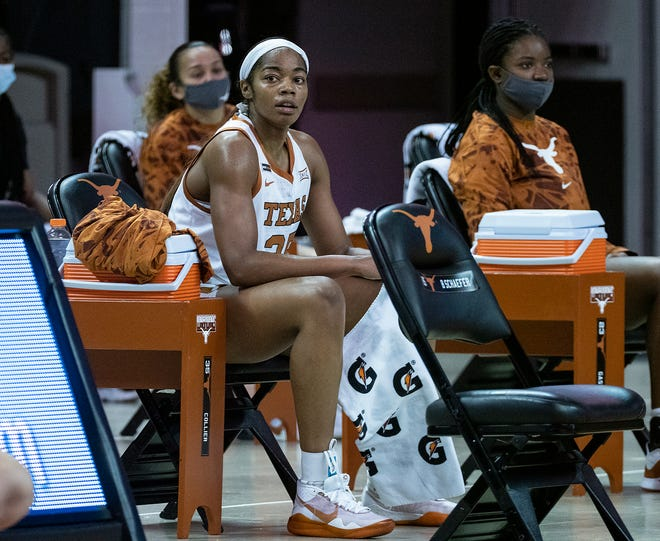 Texas junior Charli Collier gets a short break during a game against Kansas at the Erwin Center on Jan. 14. Collier is averaging 21.6 points and 11.9 rebounds per game.