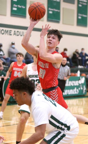 Minerva's Noah Sallade (20) was named Eastern Buckeye Conference player of the year.
