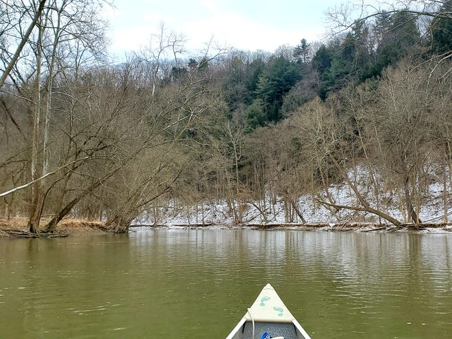 Paddling into a bend in the river past Greer — one of the most scenic parts of the Mohican River. This photo was taken Friday, Jan. 22.