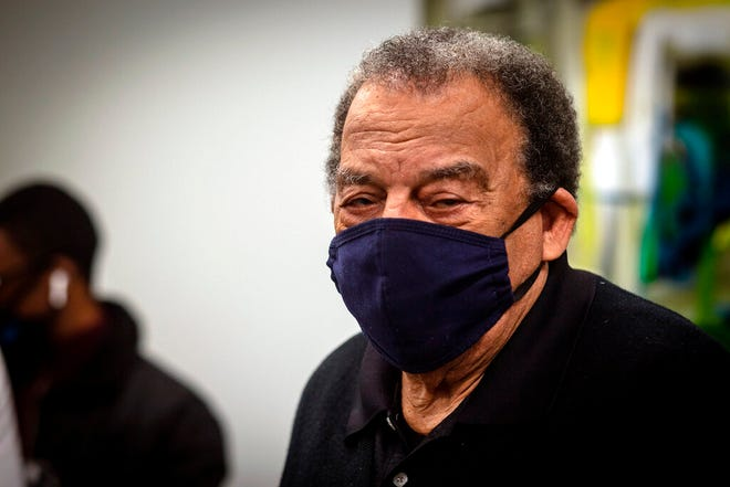 Andrew Young, former U.S. Ambassador to the United Nations, watches after he received his COVID-19 vaccination Jan. 5 at the Morehouse School of Medicine in Atlanta. Young was among a group of people who received their vaccinations in an effort to highlight the importance of getting vaccinated for Black Americans who might be hesitant to do so.