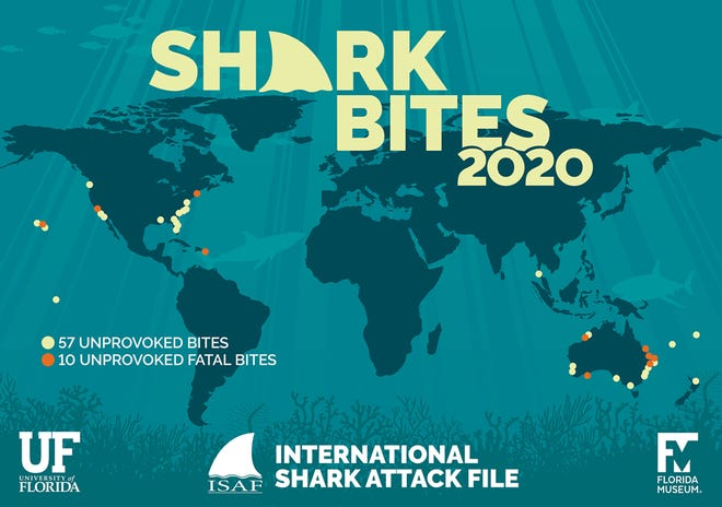 Yellow dots mark the locations of 2020's unprovoked shark bites. Orange dots represent the 10 unprovoked bites that proved fatal.